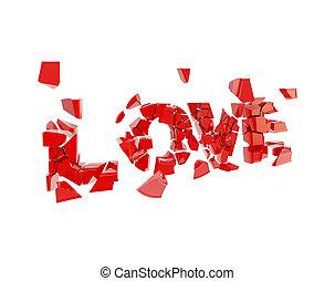 Crashed love, word broken into pieces