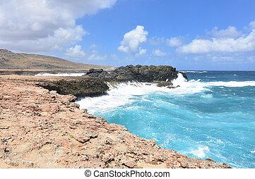 Crashing Ocean Waves on Aruba's Rocky Eastern Coast