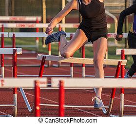 Crashing over hurdles during a race