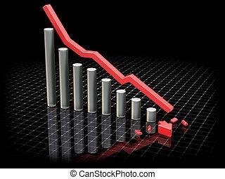 Crashing profits - 3D render showing profits crashing
