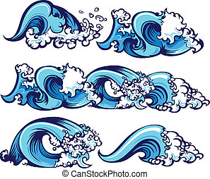 Crashing Water Waves Illustration - Waves of water graphic...