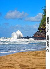 Crashing Wave hits Lumaha'i Beach on Kauai