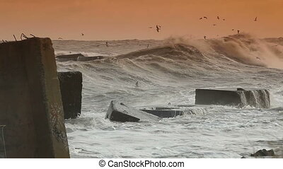 Storm Waves Smashing Against Breakwaters. Crimea, Black Sea, Canon 5D Mark II