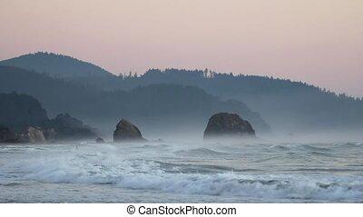 Crashing Waves in Oregon Coast