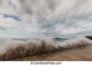 crashing waves on New Zealand coast