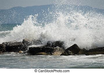 crashing waves - waves crashing to the coast rocks, Italy, ...