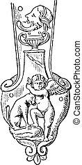 cratère, engraving., vendange, poignée