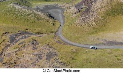 cratère, saxholl, iceland., bourdon, aérien, beau, vue