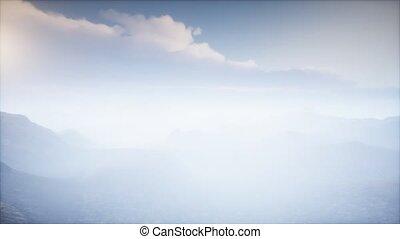 cratère, volcan, paysage, brouillard