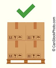crate boxes on wooded pallet and check mark green for product arrangement concept, stack cardboard box in factory warehouse storage, cardboard parcel boxes packaging cargo brown isolated on white