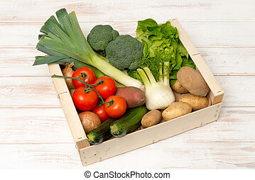 Crate Filled with Assorted Fresh Vegetables