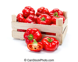 Crate of fresh ripe red paprika - Fresh ripe red hungarian...