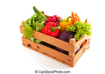 Crate vegetables - Wooden crate with a diversity of fresh ...