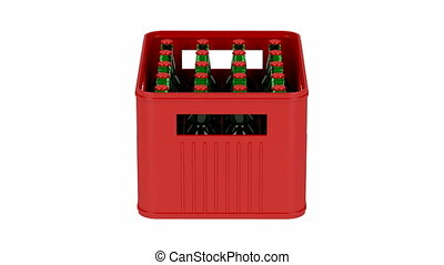 Crate with beer bottles spin on white background