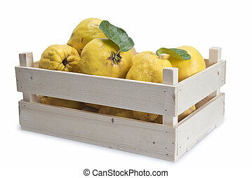 Crate with quinces