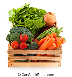 Crate with vegetables - Wooden crate with a diversity of ...