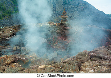 Crater floor - Toxic sulfur fumes and volcanic vents at the...