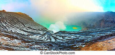 Crater of volcano Ijen. Java. Indonesia. Panorama