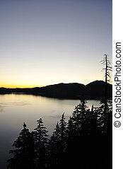 Crater Lake before sunrise