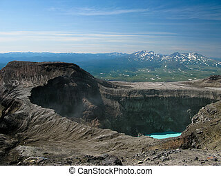 Crater lake in Gorely volcano, Kamchatka peninsula, Russia...