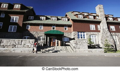 Crater Lake Lodge - People entering Crater Lake Lodge,...