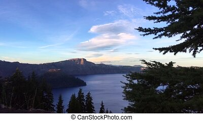 Crater Lake National Park Oregon at Sunset Wizard Island and...