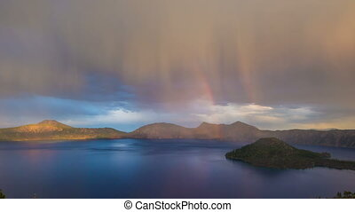 Crater Lake Rainbow Oregon 692 - Time lapse of crater lake...