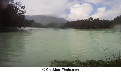 Crater lake timelapse - Indonesia, Java , Dieng Plateau,...