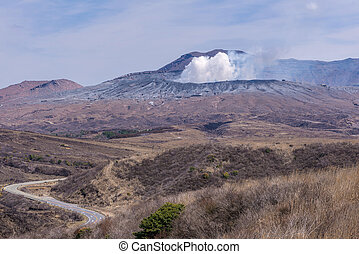 Crater of Mount Naka or Aso Mountain is the largest active volcano in Japan