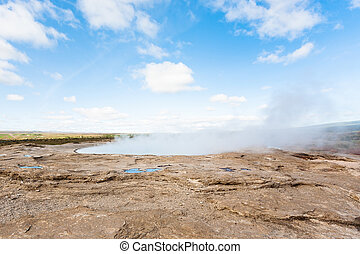 crater of The Geisyr in Haukadalur area in Iceland - travel...