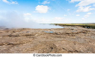 crater of The Geisyr in Haukadalur valley - travel to...