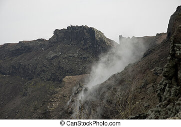crater of the Vesuvius - flow of gas emitted by the Vesuvius...