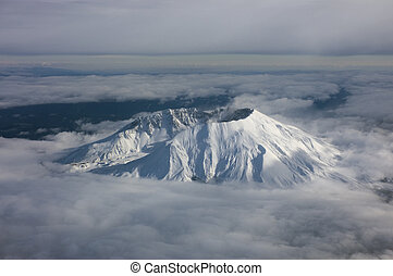 Crater Rim - still active volcano, Mt. St. Helens, in...