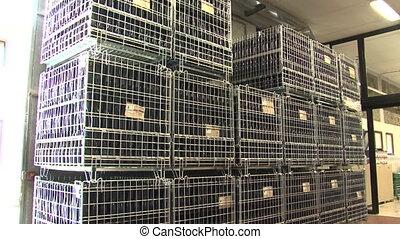 Crates of empty wine bottles