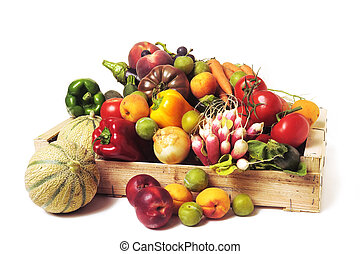 crates of fruit and vegetables on white background in...