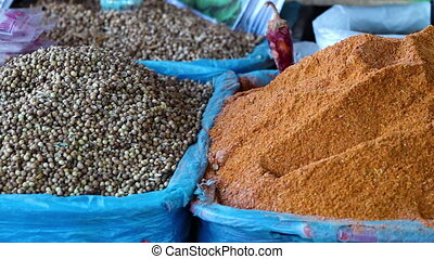 Crates of Seeds, Spices and Grains - Steady, medium close up...