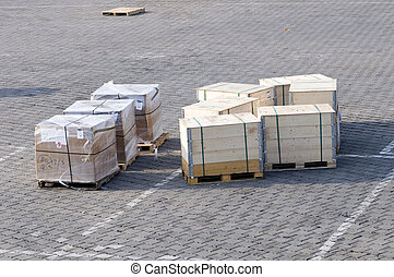 Crates on the ground of the airport