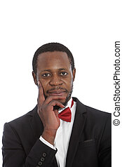cravate, beau, homme africain, arc