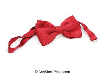 cravate, blanc, isolé, arc rouge