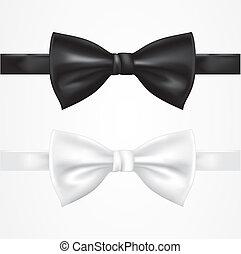 cravate, blanc, noir, arc