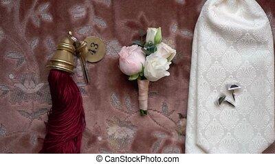 cravate, boutonniere, mariage, groom's, accessoires, cufflinks., clé salle