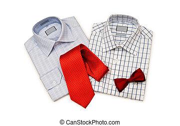 cravate, chemise blanche, fond, isolé