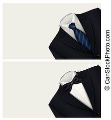 cravate, complet, fond, arc