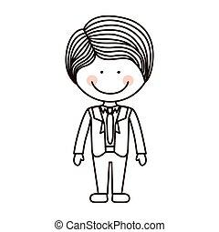 cravate, garçon, formel, silhouette, complet