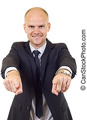 cravate, homme affaires, doigts, pointage, complet