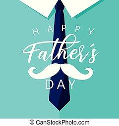 cravate, père, moustache, jour, carte, heureux