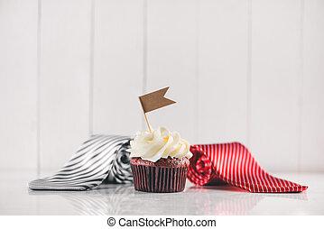 cravate, pères, present., créatif, délicieux, concept., petit gâteau, jour