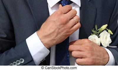 cravate, sien, redresse, palefrenier