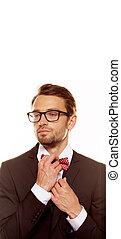 cravate, sien, redresser, homme, arc