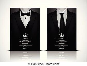 cravate, smoking, complet, noir, arc